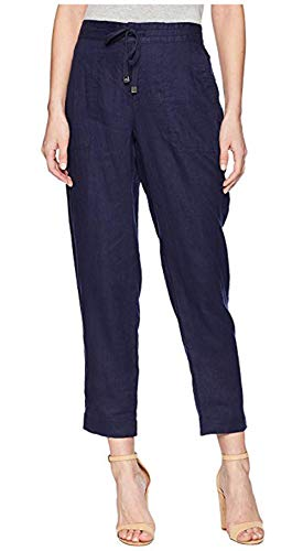 (LAUREN RALPH LAUREN Women's Straight Linen Pants Navy 14 28)