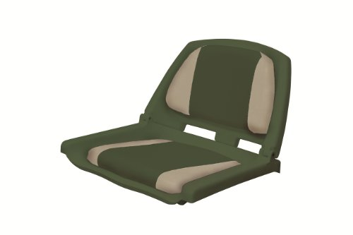 Wise 8WD139 Series Molded Fishing Boat Seat with Marine Grade Cushion Pads, Green Shell, Green/Sand Cushion