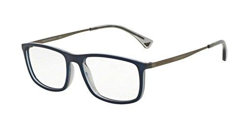 Armani EA3070 Eyeglass Frames 5469-54 - Matte Blue/grey Transp (Transp Matte)