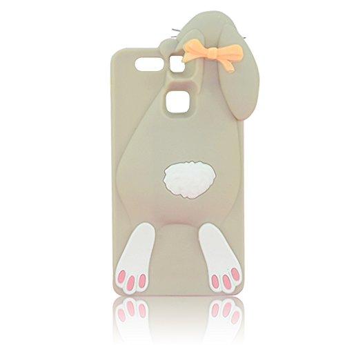 Sunroyal® Para Huawei P9 (no es compatible con Huawei P9 Plus & P9 Lite) Rabbit Funda Cáscara Silicona Caso Carcasa Cubierta Cover Case de Lujo de la Caja TPU Bumper Premium Shell Protective Back Caíd Gris