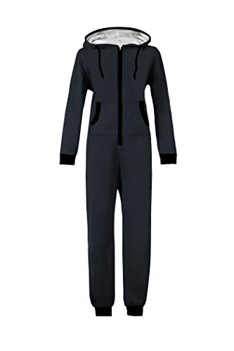 WOTOGOLD Men and Women Adult Pajamas Sportswear Hooded Unisex Jumpsuit Black Zipper Navy Blue