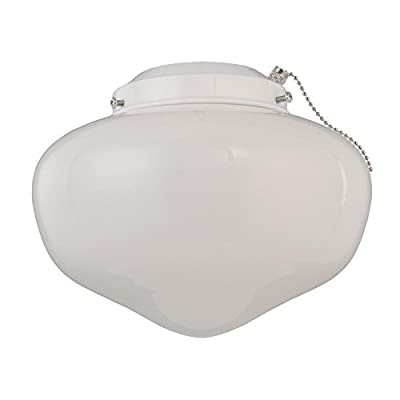 WESTINGHOUSE LIGHTING 77853 1LGT Wht School Fan Kit Frosted White Schoolhouse Ceiling