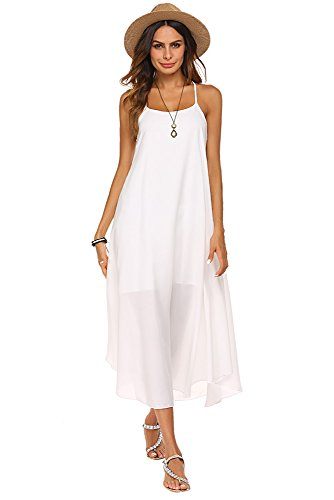 Poetsky Women's Strappy Casual Loose Boho Chiffon Halter Sleeveless Long Maxi Beach Party Dress