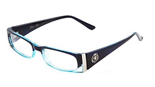 Kleo Lion Head Slim Rectangular Eyeglasses / Clear Lens Sunglasses - Frames (Black , Blue & Silver, (Blue Lion Head)