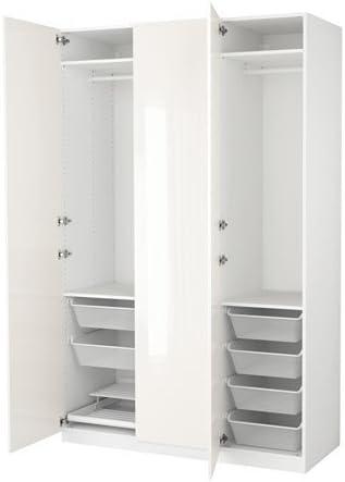Ikea Wardrobe, Blanco, Fardal Alto Brillo/Blanco 6386.82311.1010 ...