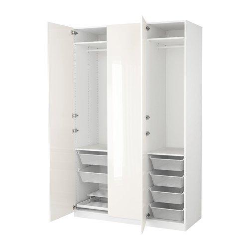 Ikea Wardrobe, Blanco, Fardal Alto Brillo/Blanco 6386.82311 ...