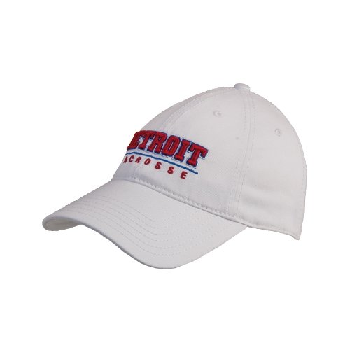 Detroit White Twill Unstructured Low Profile Hat 'Detroit Lacrosse Stacked'