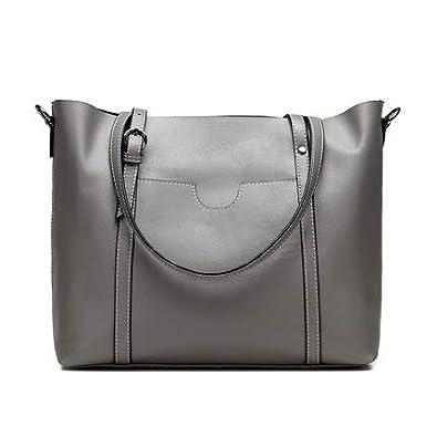 e498512ca3 Amazon.com  Brand Women Handbag Genuine Leather Shoulder Bag Female Bags  Cowhide portable shopping bag Vintage Large Capacity Tote Bolsos Color  Gray  Shoes