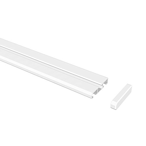 Flairdeco 15021003 1832 Gardinenschiene, Wende-Vorhangschiene 1 und 2-läufig, 180 cm, weiß aus aluminium