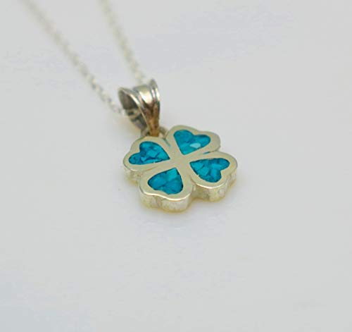 Four-leaf Turquoise Gemstone Mosaic Sterling Silver Necklace 16.1'' to 17.7 inches, Adjustable Chain, Semi Precious - Geometric Necklace Turquoise