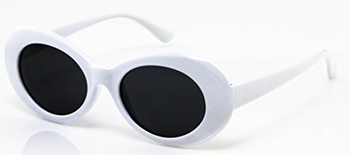 681636a59fa12 Elite NIRVANA Kurt Cobain Oval Bold Vintage Sunglasses For Women Men  Eyewear (White-Black