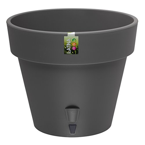 Self Watering Planter LATINA 6.9 Inch Graphite Flower Pot (Wick Self Watering)