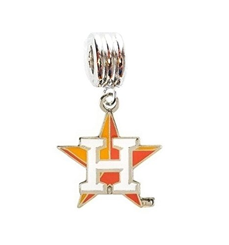 Heavens Jewelry HOUSTON ASTROS BASEBALL TEAM CHARM SLIDER PENDANT FOR YOUR NECKLACE EUROPEAN CHARM BRACELET (Fits Most Name Brands) DIY PROJECTS ETC