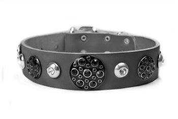 Dean and Tyler  ANASTASIA  Leather Dog Collar with Nickel Buckle Black Size 46cm by 4cm Width. Fits Neck Size 16 Inches to 20 Inches.