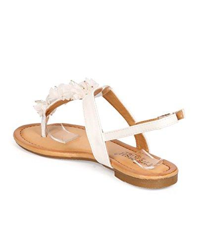 Koesteren Eb25 Dames Kralen Bloem T-strap String Vlak Sandaal Wit