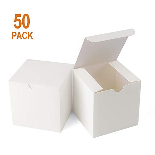 Giftol Small White Gift Box 50 Pack 4 x 4 x 4 inches Fold Box Easy Assemble Paper Gift Box Bridesmaids Proposal Box for Bridal Birthday Party Christmas(White)