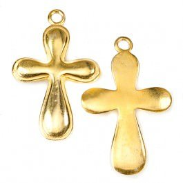 39x24mm 22kt Gold plated Cross Charm with Modern Design 1 ea