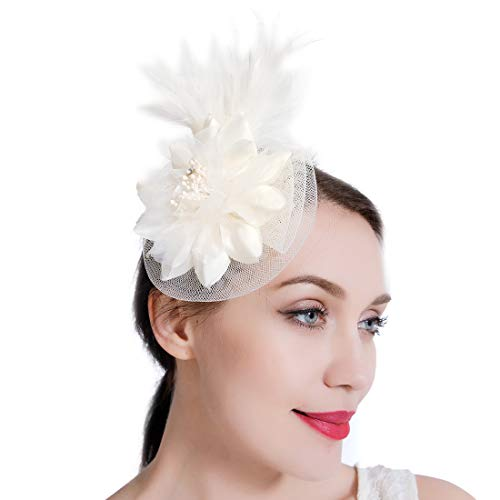 Sinamay Feather Fascinators Womens Pillbox Flower Derby Hat for Cocktail Ball Wedding Church Tea Party (Ivory-3)