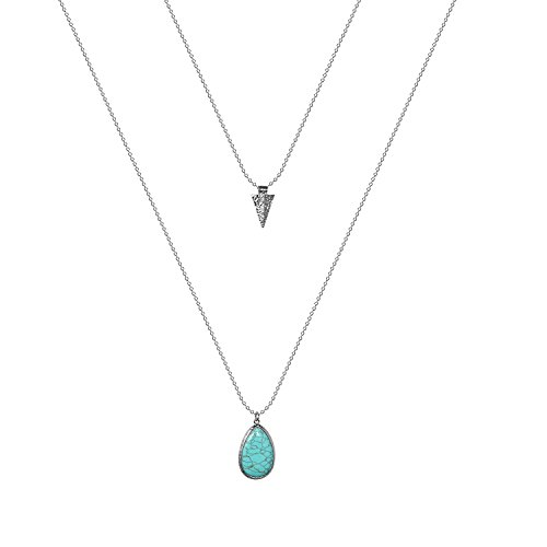 Lux Accessories Turquoise Stone Teardrop Arrow Arrowhead Layered Necklace