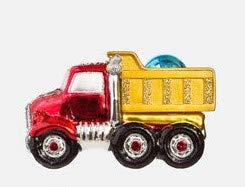 (On Holiday Glass Dump Truck with Light Blue Christmas Bulb Christmas Tree Ornament)