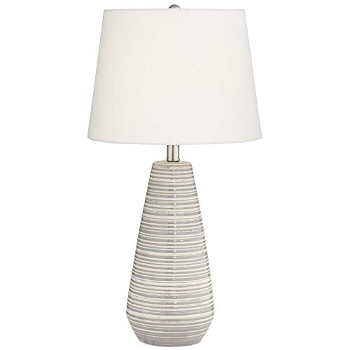 Pacific Coast Lighting 14Y07 Sully Grey and Cream Stripe Ceramic Grey-Seagull 1-Light 150W Table Lamp