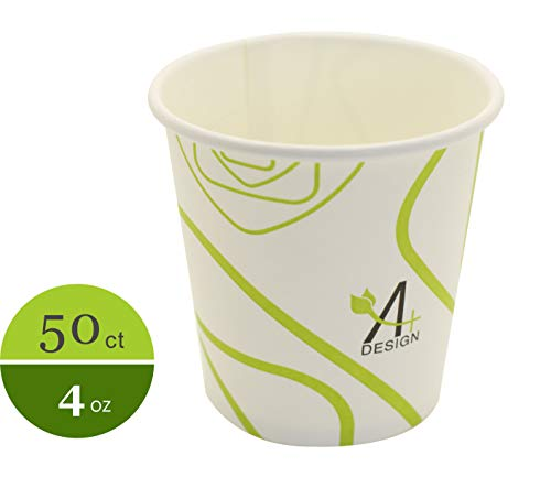- Paper Hot Cup,Special Green Lines Design, Eco-friendly,100% Blodegradable&Compostable, 50 count. (4 oz)