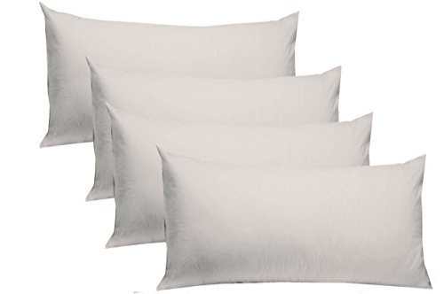 King Size Pillowcase Dimensions - Cotton Craft 4 Pack Pillow Cases - King 20x40 - White - 220 TC Thread Count Soft Sateen - Generous 4 Inch Hem - 100% Pure Combed Ringspun Cotton - Easy Care Machine Wash