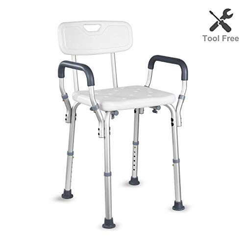 (HAIRBY Shower Chair with Arms and Back Adjustable Height Medical Bath Tool Anti Skid and No Slip Bathtub Seat for Handicap, Disabled, Seniors and Elderly)