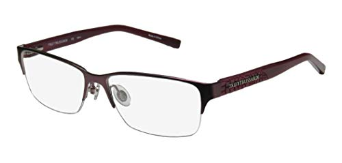 Trussardi 12720 Mens/Womens Designer Half-rim Flexible Hinges Famous Classic Shape Eyeglasses/Spectacles (54-15-135, Purple)
