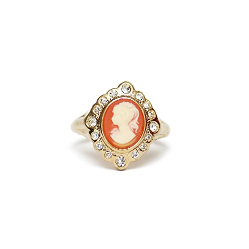 - Providence Vintage Jewelry 18k Yellow Gold Plated White on Coral Cameo Ring Clear Swarovski Crystals