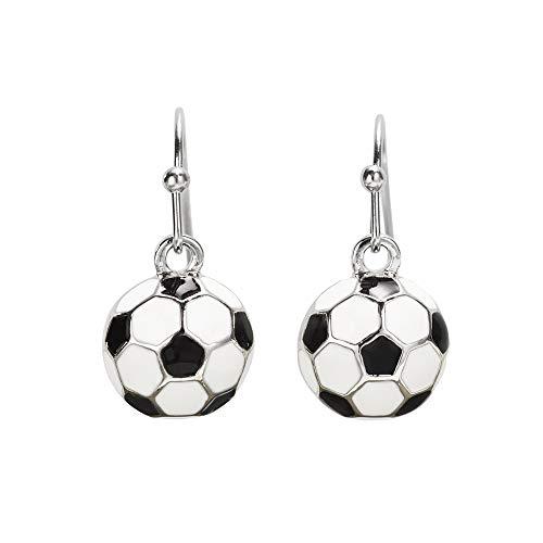 GIMMEDAT Soccer Post or Dangle Earrings | Lead & Nickel Free | Player or Fan Gift (Enamel Dangle) ()