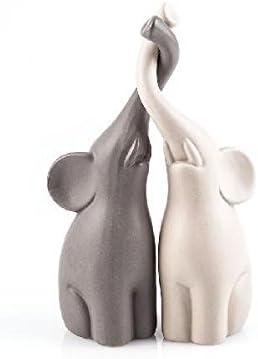 Dos elefantes entrelazadas en sus troncos,Contraste de colores (gris y blanco),Hecho de cerámica,Alt
