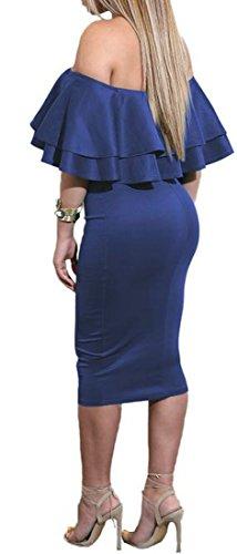 Midi Womens Fuori Reale Della Blu Del Spalla Sexy Vestito Increspature Matita Cromoncent Solido Bodycon 6wqFr6WP1a