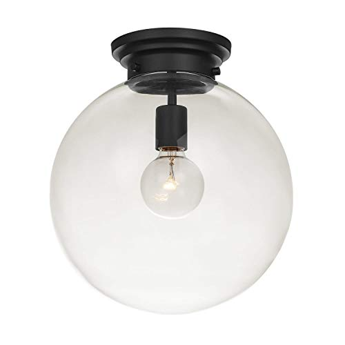 Globe Electric Portland 1 Semi-Flush Mount Ceiling Light, Black Finish, Clear Glass Shade 65954 (Mount Black Finish Flush)