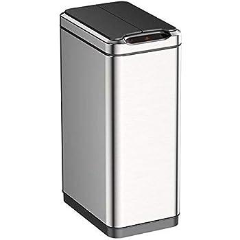 EKO Phantom 50 Liter / 13.2 Gallon Motion Sensor Trash Can, Brushed Stainless Steel Finish