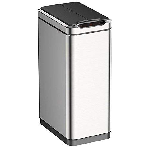EKO Phantom 50 Liter / 13.2 Gallon Motion Sensor Trash Can, Brushed Stainless Steel Finish