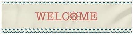 Welcome 12x3 Nautical Wave Wind-Resistant Outdoor Mesh Vinyl Banner CGSignLab