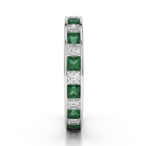 Or blanc 18carats 2ct G-H/VS sertie de diamants ronds découpé Émeraude et bague éternité Agdr-1133