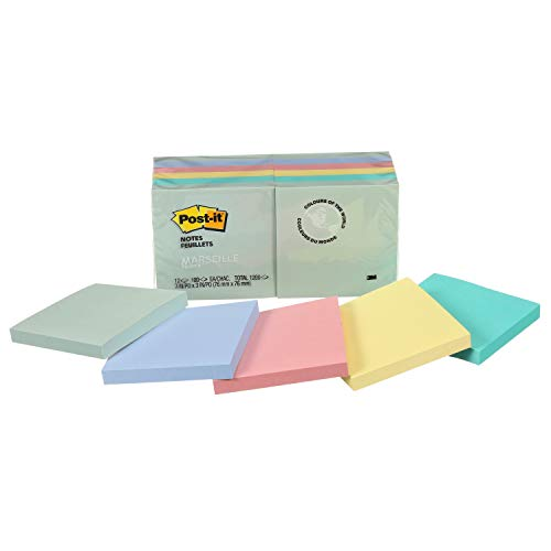 Post-it Notes, America's #1 Favorite Sticky Note, 3 in x 3 in, Marseille Collection, 12 Pads/Pack, 100 Sheets/Pad (654-AST)