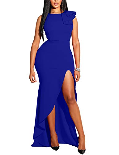 MIZOCI Womens Sexy Ruffles Sleeveless Side Split Evening Gown Bodycon Maxi Party Dress,XX-Large,Royal Blue