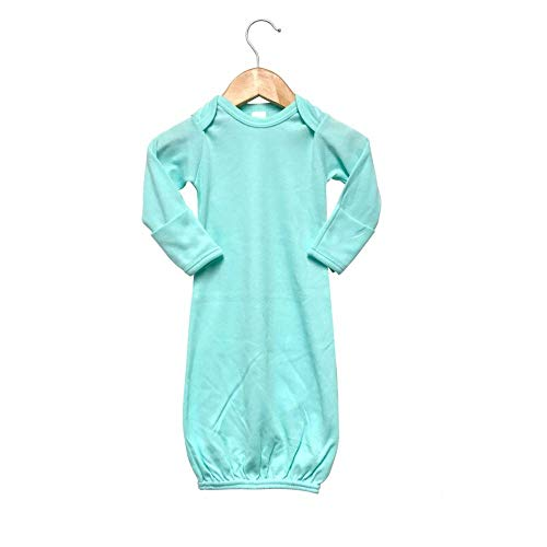 Laughing Giraffe Baby Infant Blank Long Sleeve Sleeper Gown with Mitten Cuffs (0-3M, Mint)