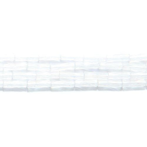 Preciosa Ornela Czech Twisted Bugle Glass Bead No.3, 2 by 7mm, Aurora Borealis, Crystal