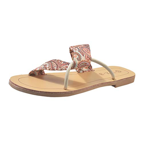 (Women's Fashion Beach Sandals- Casual Outdoor Flat Shoes Summer Cross Backstrap Slippers Red)