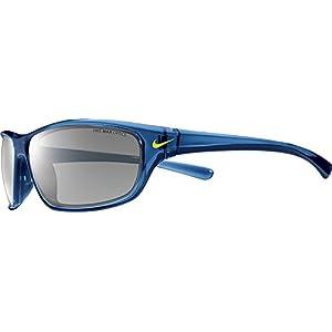 Nike EV0821-407 Varsity Sunglasses (One Size), Crystal Gym Blue/Volt, Grey with Silver Flash Lens