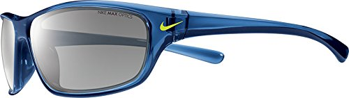 Nike EV0821-407 Varsity Sunglasses (One Size), Crystal Gym Blue/Volt, Grey with Silver Flash Lens