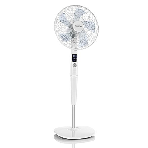klarstein silent storm pedestal fan adjustable height quiet operation 12 speed settings remote control 5 operation modes white