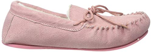 Luxury Pink Suede Moccasin Sole with Slipper Rubber Lambswool Womens SNUGRUGS zqnH5gw
