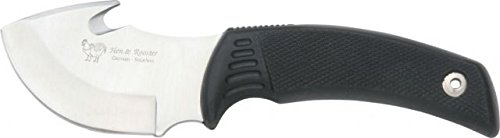Hen Rooster Knives 5009 Guthook Hunter Fixed Blade Knife with Black Rubber Handle