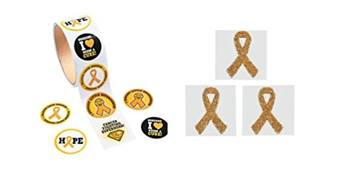 200 Gold Childhood Cancer Awareness Stickers (2 Rolls) And Gold Awareness Face Tattoo's
