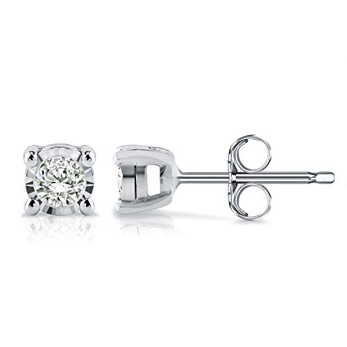 Diamond Wish Sterling Silver Round Diamond Stud Earrings (0.08 cttw, Good, I2-I3) 4-Prong Basket Set, Push-Back Clasps